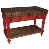 Rustica Kitchen Island with 4'' Thick Walnut End Grain Top, Barn Red, 48'' W, 2 Drawers & Shelf