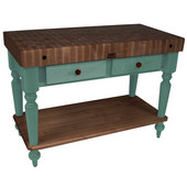 Rustica Kitchen Island with 4'' Thick Walnut End Grain Top, Basil, 48'' W, 2 Drawers & Shelf