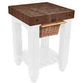 Gathering Block Kitchen Cart with 4'' Thick End Grain Walnut Top and Pull Out Wicker Basket, 25'' W x 24'' D x 36'' H, Alabaster