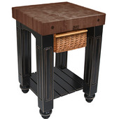 Gathering Block Kitchen Cart with 4'' Thick End Grain Walnut Top and Pull Out Wicker Basket, 25'' W x 24'' D x 36'' H, Black