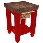 Gathering Block Kitchen Cart with 4'' Thick End Grain Walnut Top and Pull Out Wicker Basket, 25'' W x 24'' D x 36'' H, Barn Red