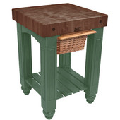 Gathering Block Kitchen Cart with 4'' Thick End Grain Walnut Top and Pull Out Wicker Basket, 25'' W x 24'' D x 36'' H, Basil