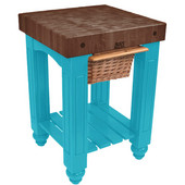 Gathering Block Kitchen Cart with 4'' Thick End Grain Walnut Top and Pull Out Wicker Basket, 25'' W x 24'' D x 36'' H, Caribbean Blue