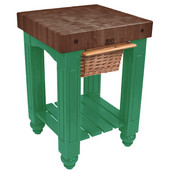 Gathering Block Kitchen Cart with 4'' Thick End Grain Walnut Top and Pull Out Wicker Basket, 25'' W x 24'' D x 36'' H, Clover Green
