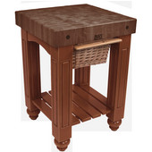 Gathering Block Kitchen Cart with 4'' Thick End Grain Walnut Top and Pull Out Wicker Basket, 25'' W x 24'' D x 36'' H, Cherry Stain