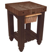 Gathering Block Kitchen Cart with 4'' Thick End Grain Walnut Top and Pull Out Wicker Basket, 25'' W x 24'' D x 36'' H, French Roast