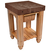 Gathering Block Kitchen Cart with 4'' Thick End Grain Walnut Top and Pull Out Wicker Basket, 25'' W x 24'' D x 36'' H, Natural Maple