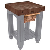 Gathering Block Kitchen Cart with 4'' Thick End Grain Walnut Top and Pull Out Wicker Basket, 25'' W x 24'' D x 36'' H, Slate Gray
