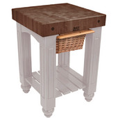 Gathering Block Kitchen Cart with 4'' Thick End Grain Walnut Top and Pull Out Wicker Basket, 25'' W x 24'' D x 36'' H, Useful Gray Stain