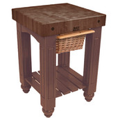 Gathering Block Kitchen Cart with 4'' Thick End Grain Walnut Top and Pull Out Wicker Basket, 25'' W x 24'' D x 36'' H, Walnut Stain