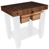 Gathering Block II Kitchen Island with 4'' Thick End Grain Walnut Top and 2 Pull Out Wicker Baskets, 36'' W x 24'' D x 36''H, Alabaster