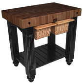Gathering Block II Kitchen Island with 4'' Thick End Grain Walnut Top and 2 Pull Out Wicker Baskets, 36'' W x 24'' D x 36''H, Black