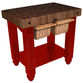 Gathering Block II Kitchen Island with 4'' Thick End Grain Walnut Top and 2 Pull Out Wicker Baskets, 36'' W x 24'' D x 36''H, Barn Red