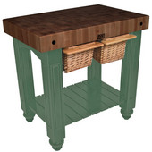 Gathering Block II Kitchen Island with 4'' Thick End Grain Walnut Top and 2 Pull Out Wicker Baskets, 36'' W x 24'' D x 36''H, Basil