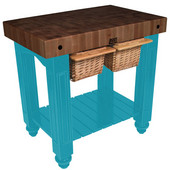 Gathering Block II Kitchen Island with 4'' Thick End Grain Walnut Top and 2 Pull Out Wicker Baskets, 36'' W x 24'' D x 36''H, Caribbean Blue