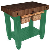 Gathering Block II Kitchen Island with 4'' Thick End Grain Walnut Top and 2 Pull Out Wicker Baskets, 36'' W x 24'' D x 36''H, Clover Green