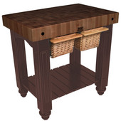 Gathering Block II Kitchen Island with 4'' Thick End Grain Walnut Top and 2 Pull Out Wicker Baskets, 36'' W x 24'' D x 36''H, French Roast