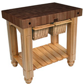 Gathering Block II Kitchen Island with 4'' Thick End Grain Walnut Top and 2 Pull Out Wicker Baskets, 36'' W x 24'' D x 36''H, Natural Maple