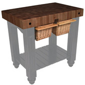Gathering Block II Kitchen Island with 4'' Thick End Grain Walnut Top and 2 Pull Out Wicker Baskets, 36'' W x 24'' D x 36''H, Slate Gray
