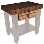Gathering Block II Kitchen Island with 4'' Thick End Grain Walnut Top and 2 Pull Out Wicker Baskets, 36'' W x 24'' D x 36''H, Useful Gray Stain