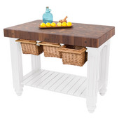 Gathering Block III Kitchen Island with 4'' Thick End Grain Walnut Top and 3 Pull Out Wicker Baskets, 48'' W x 24'' D x 36''H, Alabaster