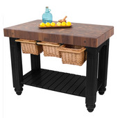 Gathering Block III Kitchen Island with 4'' Thick End Grain Walnut Top and 3 Pull Out Wicker Baskets, 48'' W x 24'' D x 36''H, Black