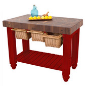 Gathering Block III Kitchen Island with 4'' Thick End Grain Walnut Top and 3 Pull Out Wicker Baskets, 48'' W x 24'' D x 36''H, Barn Red