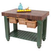 Gathering Block III Kitchen Island with 4'' Thick End Grain Walnut Top and 3 Pull Out Wicker Baskets, 48'' W x 24'' D x 36''H, Basil