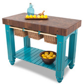 Gathering Block III Kitchen Island with 4'' Thick End Grain Walnut Top and 3 Pull Out Wicker Baskets, 48'' W x 24'' D x 36''H, Caribbean Blue