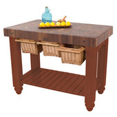 Gathering Block III Kitchen Island with 4'' Thick End Grain Walnut Top and 3 Pull Out Wicker Baskets, 48'' W x 24'' D x 36''H, Cherry Stain