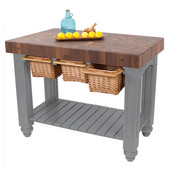 Gathering Block III Kitchen Island with 4'' Thick End Grain Walnut Top and 3 Pull Out Wicker Baskets, 48'' W x 24'' D x 36''H, Slate Gray