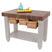 Gathering Block III Kitchen Island with 4'' Thick End Grain Walnut Top and 3 Pull Out Wicker Baskets, 48'' W x 24'' D x 36''H, Useful Gray Stain