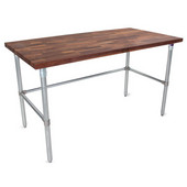 1-1/2'' Thick Walnut Top Work Table with Galvanized Base & Bracing, Oil Finish, 60'' W x 24'' D x 35''H