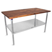 1-1/2'' Thick Walnut Top Work Table with Galvanized Base & Under Shelf, Oil Finish, 60'' W x 24'' D x 35''H