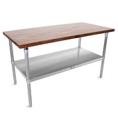 1-1/2'' Thick Walnut Top Work Table with Stainless Steel Base & Under Shelf, Varnique Finish, 60'' W x 30'' D x 40''H