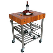 Cucina D' Amico Wine Cart with Cherry End Grain Butcher Block Top & Electrical Outlet, 12 Bottle Capacity, 30'' W x 24'' D x 35-1/2'' H, Stainless Steel