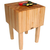''AA'' Butcher Block Work Table with 16'' Thick End Grain Work Surface, Multiple Sizes Available