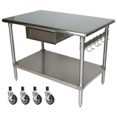 Cucina Forte Stainless Steel Work Table with Casters, 48'' W x 30'' D x 36''H