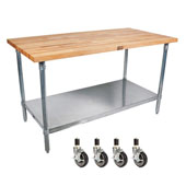 Cucina Grandioso with Maple Top, S/S Shelf & Casters, 60'' W x 30'' D x 36''H, Without Pot Rack
