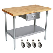 Cucina Grandioso with Maple Top, S/S Shelf, Drawer & Casters, 72'' W x 30'' D x 36''H, Without Pot Rack