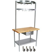 Cucina Grandioso Kitchen Cart with Stainless Pot Rack, Drawer & Casters, 48'' W x 30'' D x 84''H