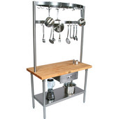 Cucina Grandioso Kitchen Cart with Stainless Pot Rack & Drawer, Available in Different Sizes