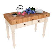 Cucina Rustica Kitchen Island 48'' W Work Table with 4'' Thick End Grain Hard Maple Top, 48'' W x 24'' D, Alabaster