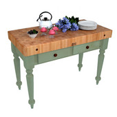Cucina Rustica Kitchen Island 48'' W Work Table with 4'' Thick End Grain Hard Maple Top, 48'' W x 24'' D, Basil Green