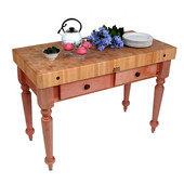Cucina Rustica Kitchen Island 48'' W Work Table with 4'' Thick End Grain Hard Maple Top, 48'' W x 24'' D, Cherry Stain