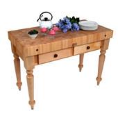 Cucina Rustica Kitchen Island Work Table, Natural Maple finish, 48'' x 24''