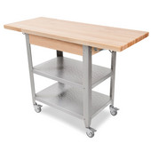 Cucina Elegante Kitchen Cart without Drawer, Maple Top, Two 10'' Drop Leaves, 50-3/4'' W