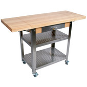Cucina Elegante Kitchen Cart with Drawer, Maple Top, Two 10'' Drop Leaves, 50-3/4'' W