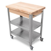 Cucina Elegante Kitchen Cart without Drawer, Maple Top, No Drop Leaf, 30-3/4'' W