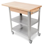 Cucina Elegante Kitchen Cart without Drawer, Maple Top, 10'' Drop Leaf, 40-3/4'' W
